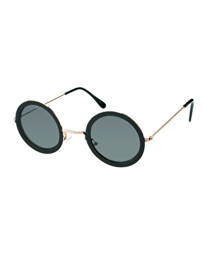 ASOS | ASOS Black Metal Round Sunglasses at ASOS