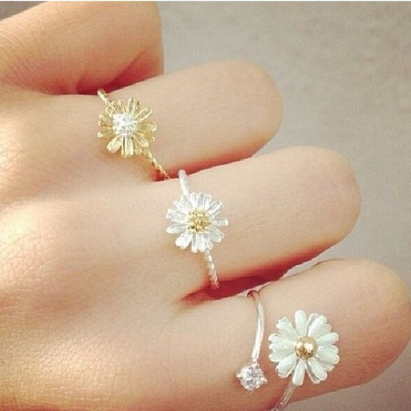 jewels daisy ring dainty ring silver