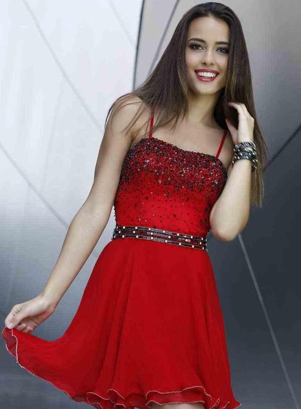 short prom dress spaghetti straps dress