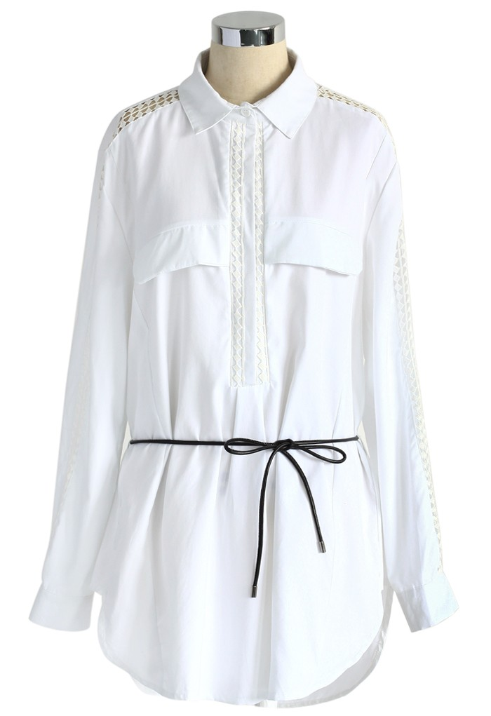 White Belted Tunic with Crochet Trim - Retro, Indie and Unique Fashion