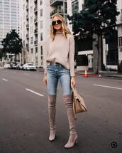 shoes,boots,suede boots,thigh high boots,high heels boots,handbag,jeans,skinny jeans,sweater,aviator sunglasses,denim,high waisted jeans,sunglasses,over the knee boots,turtleneck sweater,bag,streetstyle
