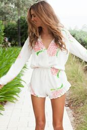 dress,romper,light,free,funny,white,floral,summer,white dress,fashion,teenagers,blouse,ruffle,ivory,long sleeves,t-shirt,floral romper,jumpsuit,pink flowers