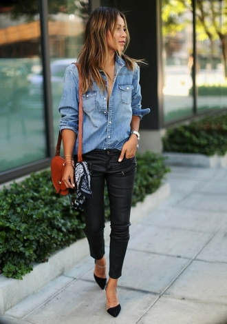 sincerely jules blogger black pants denim shirt pointed toe