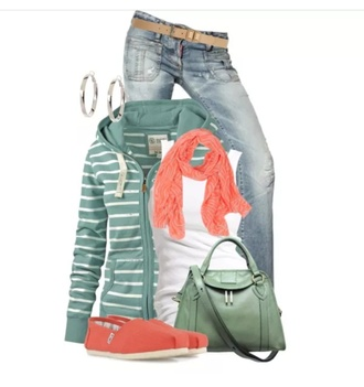 sweater green stripes hoodie