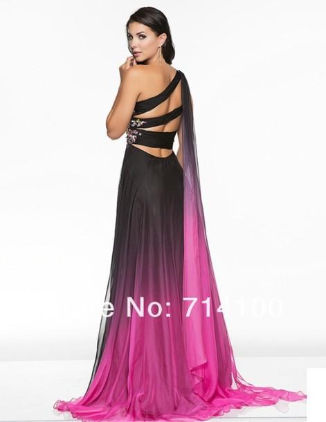 Dress Prom Dress Long Prom Dress Ombre Cute One Shoulder Dress
