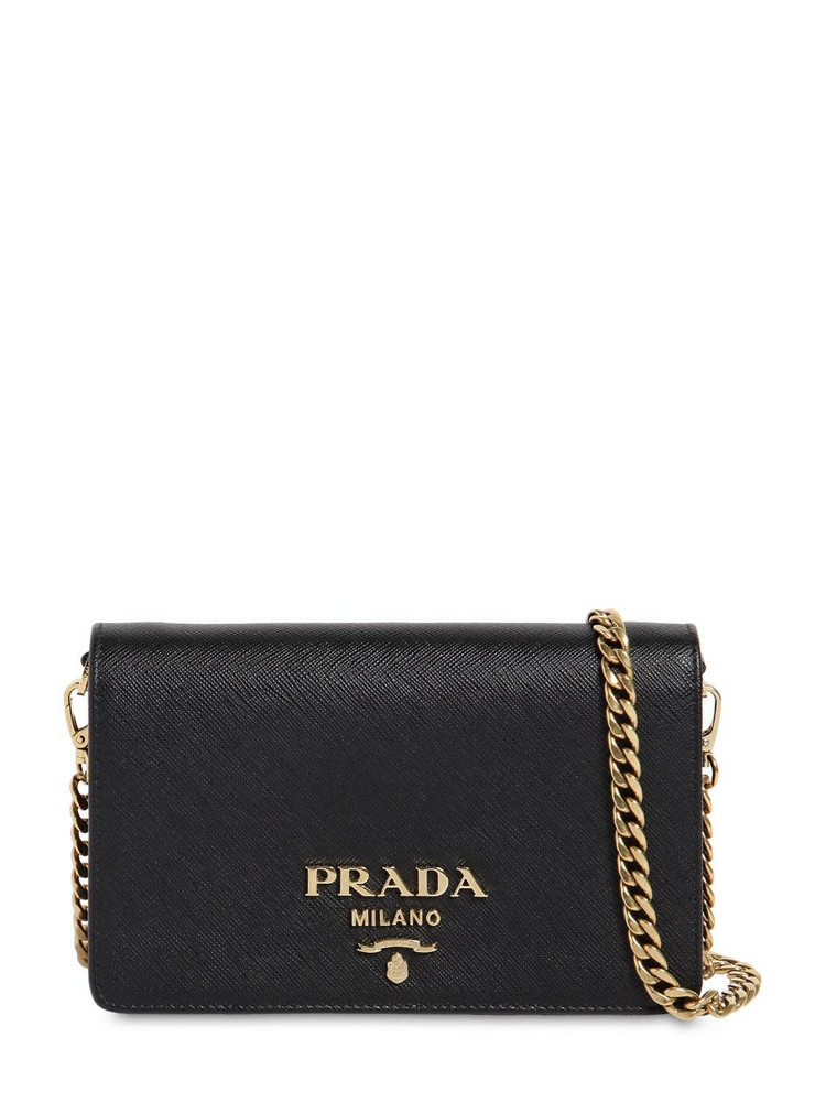 PRADA Saffiano Leather Shoulder Bag in black