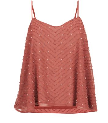 Brown Chevron Beaded Swing Cami