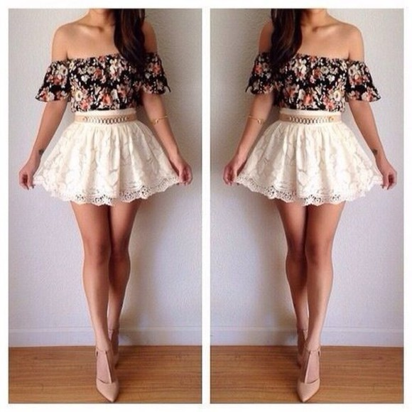 Belt floral dress shoes skirt crop tops top white