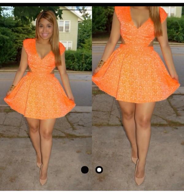 skater dress cut-out dress girly dress summer dress print skater day dress
