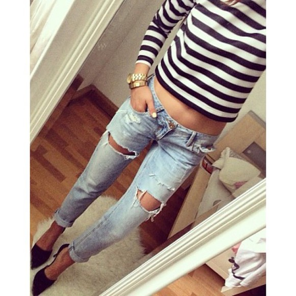 shirt jeans ripped jeans boyfriend jeans striped shirt stripes blouse loose pants