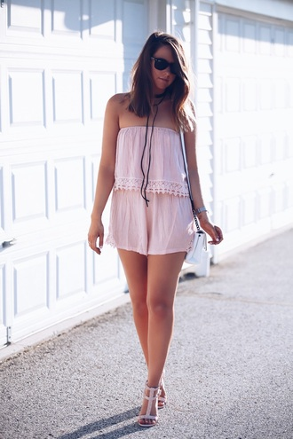 fashionably kay blogger romper shoes jewels off the shoulder pink strapless