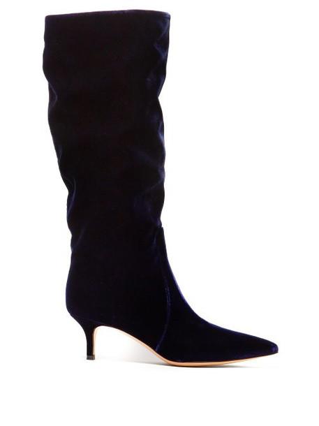 velvet boots navy velvet shoes