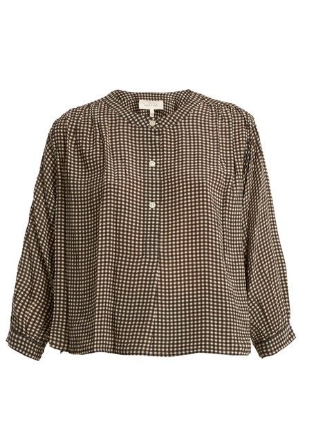The Great blouse silk gingham khaki cream top