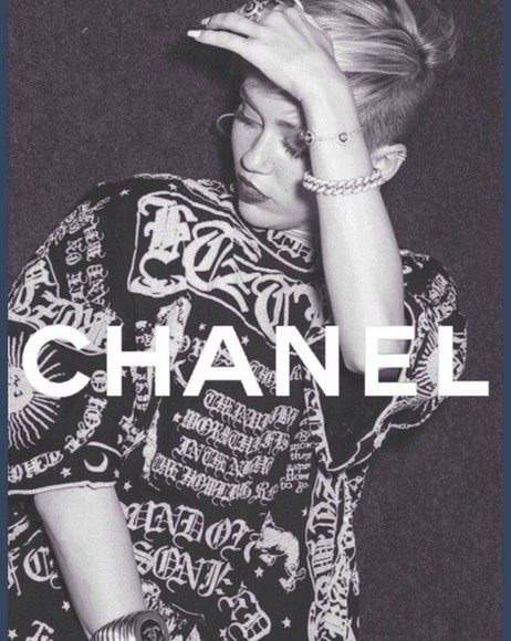 sweater white t-shirt black chanel t-shirt crop tops moon sun symbols