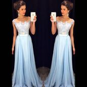 prom dress,blue prom dress,light blue,gown,bridesmaid,long prom dress,dress,prom,beautiful,prom 2016,chiffon,a-line,blessedatelie,a line dress,wedding dress,long bridesmaid dress,long dress,blue dress,light blue dresses,pinterest,instagram,lace dress,lace,floral dress,promdres,blue,maxi dress