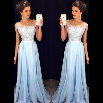 prom dress blue prom dress light blue gown bridesmaid long prom dress dress prom beautiful prom 2016 chiffon a-line blessedatelie a line dress wedding dress long bridesmaid dress long dress blue dress light blue dresses pinterest instagram lace dress lace floral dress promdres blue maxi dress