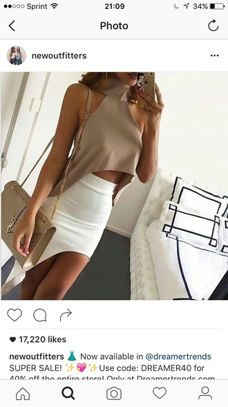 top outfit outfit idea summer outfits cute outfits date outfit party outfits clubwear fashion style stylish cute top skirt pencil skirt white skirt slit skirt high waisted skirt summer top crop tops beige bag purse clothes cropped