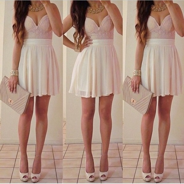 dress bag jewels pink skirt nude cute dress short dress shirt slit dress pastel high heels statement necklace
