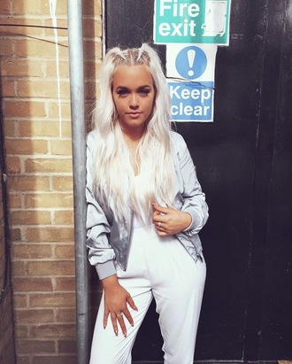 jacket silver jacket lottie tomlinson silver hair pants white pants high waisted pants top white top bomber jacket satin bomber metallic jacket