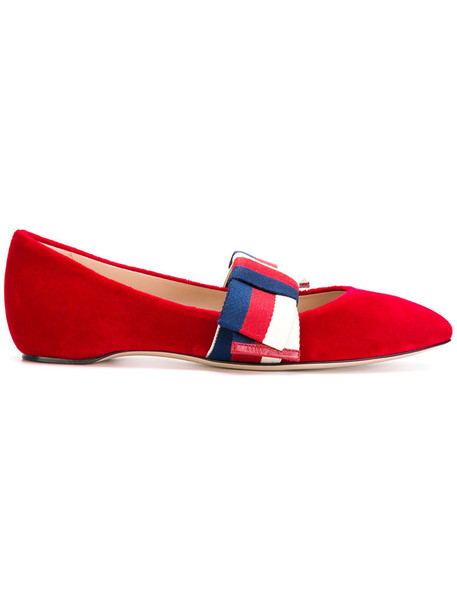 gucci bow women shoes leather cotton red