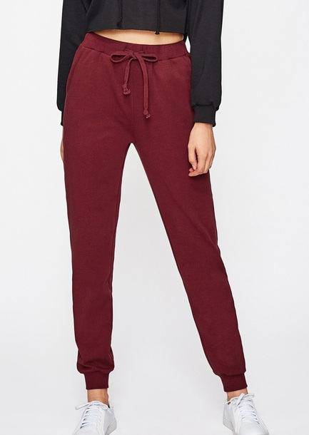 pants girly burgundy joggers sweatpants