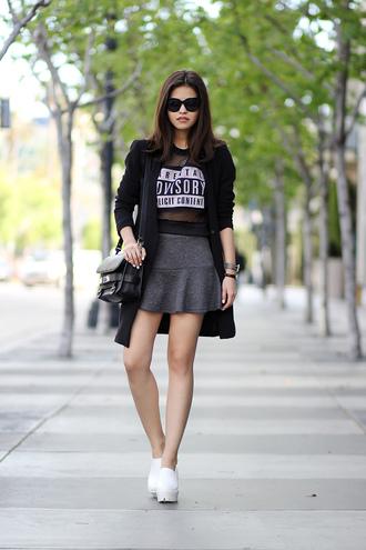 fake leather sweater coat skirt shoes sunglasses bag