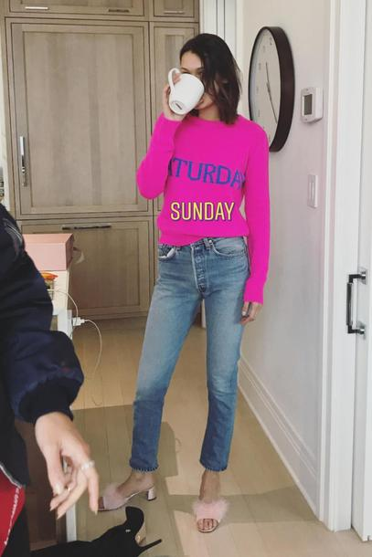 sweater model off-duty jeans denim bella hadid instagram pink fall outfits fall sweater