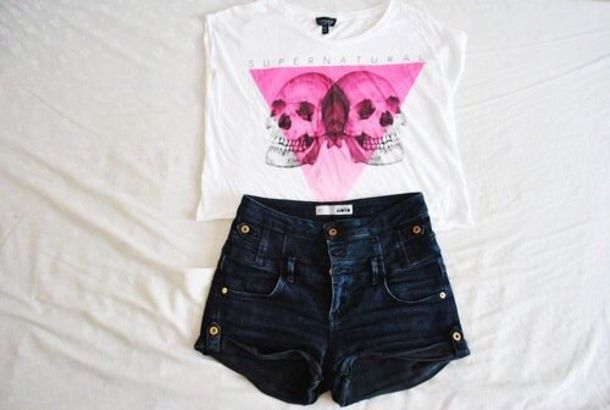 t-shirt outfit topshop shirt pink black white skull summer tumblr cute hot