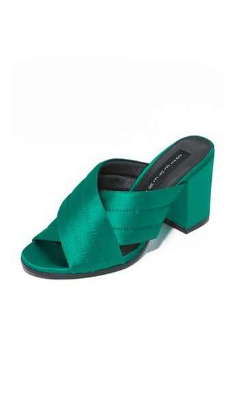 mules satin green shoes