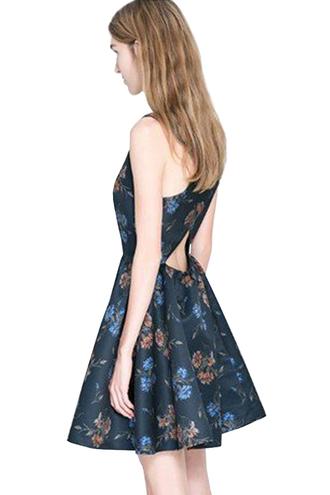 dress floral dress cross back a-line dress sleeveless