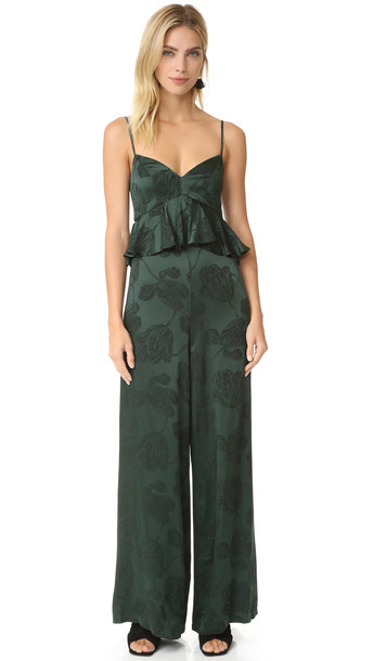 Cynthia Rowley Ruffle Jumpsuit - Forest Green
