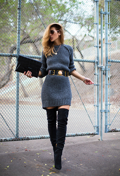 blogger sunglasses belt sweater dress pouch thigh high boots winter outfits knitted dress jewels dress bag shoes double buckle belt grey dress ribbed dress long sleeves winter dress over the knee boots over the knee clutch givenchy bag givenchy black belt knitted mini dress grey sweater dress grey knitted dress grey knit dress mini knit dress mini knitted dress cardigan black black heels sweater long sleeves boots suede leather snake fall outfits grey gold blonde hair shades glasses ring fashion chunky streetstyle style street thigh highs crocodile fall outfits gold chain blonde hair jewelry waist belt hair bracelets knecklace classy urban business dress city outfits pretty