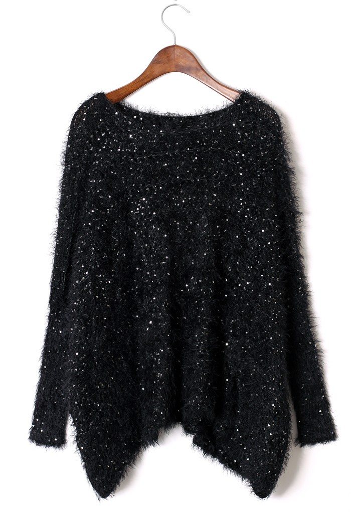 Sweater - Black Fluffy Sequin Knit Sweater | UsTrendy
