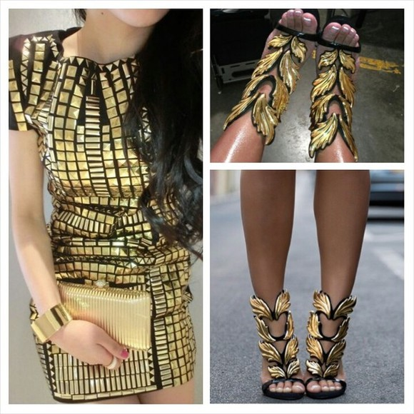dress designer fashion bodycon clothes shoes sandals gold gold shoes black and gold shoes black and gold dress black and gold