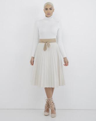 skirt pleated skirt pleated midi skirt off-white off white skirt