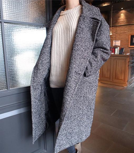 grey knit outerwear pea coat oversized