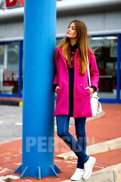 Pure Color Suit Collar Wool Trench Coat [FEBK0330] - PersunMall.com