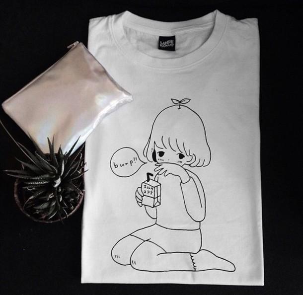 shirt white manga burp love grunge