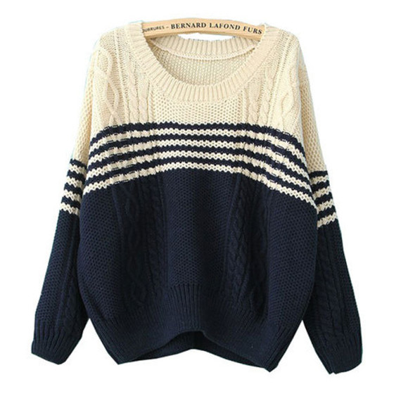 sweater stripes white blue winter fall cream loose bigger loose fit sweater long sleeve simple