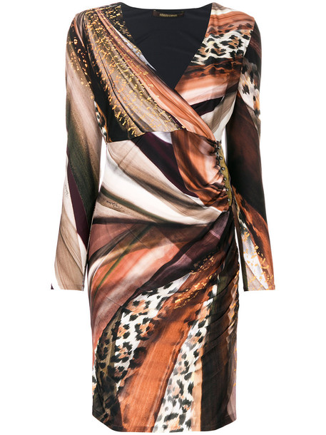 dress wrap dress women spandex print brown leopard print