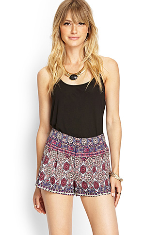 Pleated Tribal Print Shorts | FOREVER 21 - 2000104876