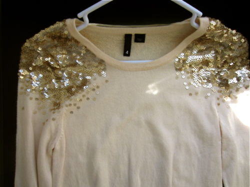 H M Gold Sequined Shoulders Statement Coral Sweater Pullover Jumper Long Sleeves | eBay
