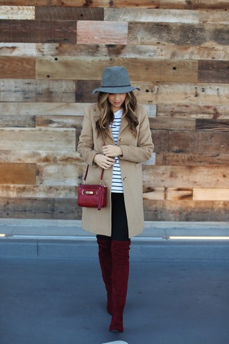 shoes velvet over the knee boots boots red boots velvet velvet shoes velvet boots pants black pants top striped top stripes felt hat hat grey hat coat camel camel coat bag red bag tumblr