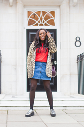 iwantyoutoknow,blogger,tights,fall outfits,winter outfits,denim skirt,animal print,metallic shoes,wavy hair,outfit idea,leopard print,silver shoes