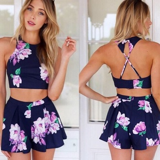 top shorts romper skirt tank top flower skirt dress floral purple blue shirt blouse flowers two-piece fashion new style floral tank top crop tops floral top