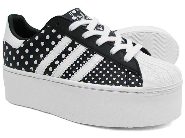 Adidas superstar 2 up wedge platform sneakers new, blk polka d65179 selena gomez