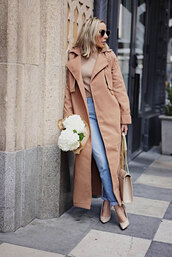coat,tumblr,camel,camel coat,camel long coat,long coat,jeans,denim,blue jeans,cuffed jeans,pumps,sweater,beige sweater,bag,nude bag