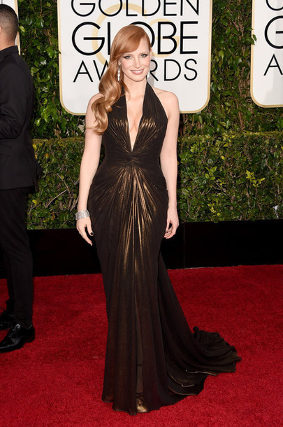 dress versace jessica chastain metallic Golden Globes 2015
