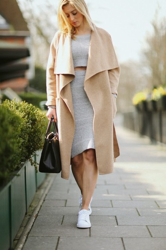 fashionism blogger skirt top shoes coat bag sunglasses woolencoat camel coat waterfall coat