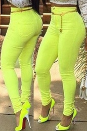 pants,lime,jeans,skin tight,colorful,wots-hot-right-now,black dress,eco friendly,skinny pants,bright,casual,high waisted jeans,high waisted
